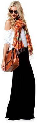 perfect skirt, top, purse and scarf.