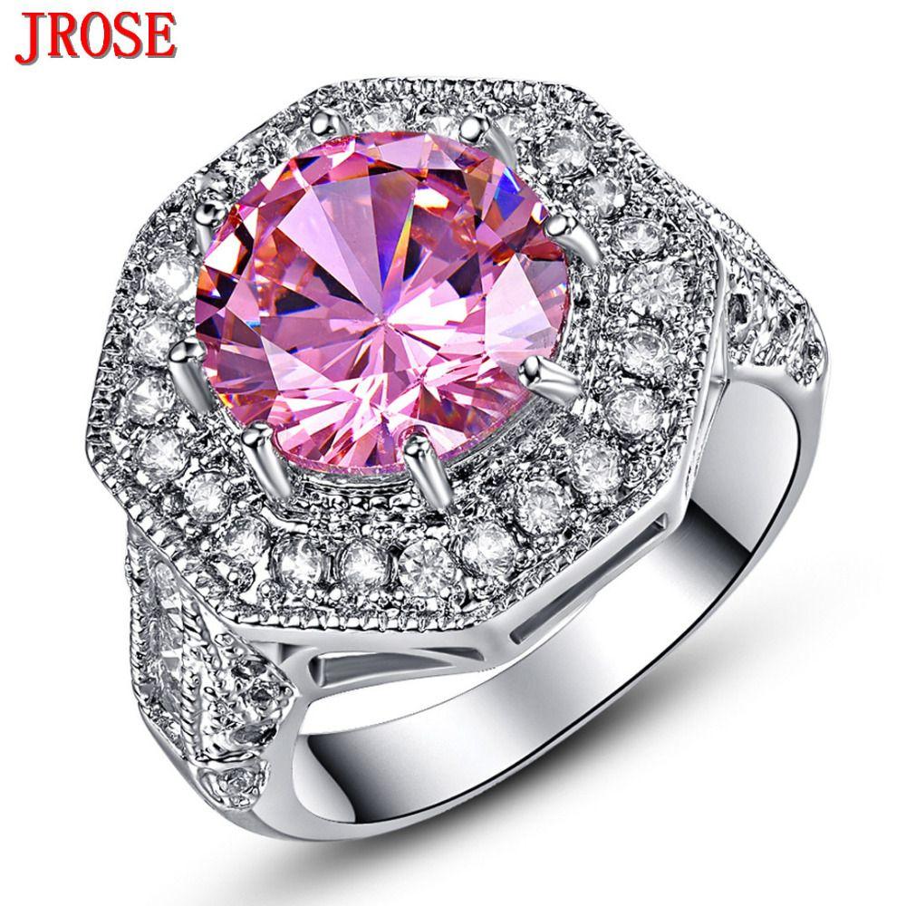 JROSE Engagement Pink & White CZ White Gold Color Ring For