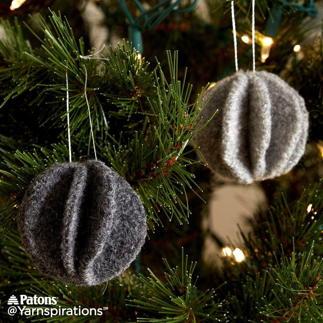 Felt Knit Circle Ornaments | Free Pattern | Yarnspirations | xmas ...