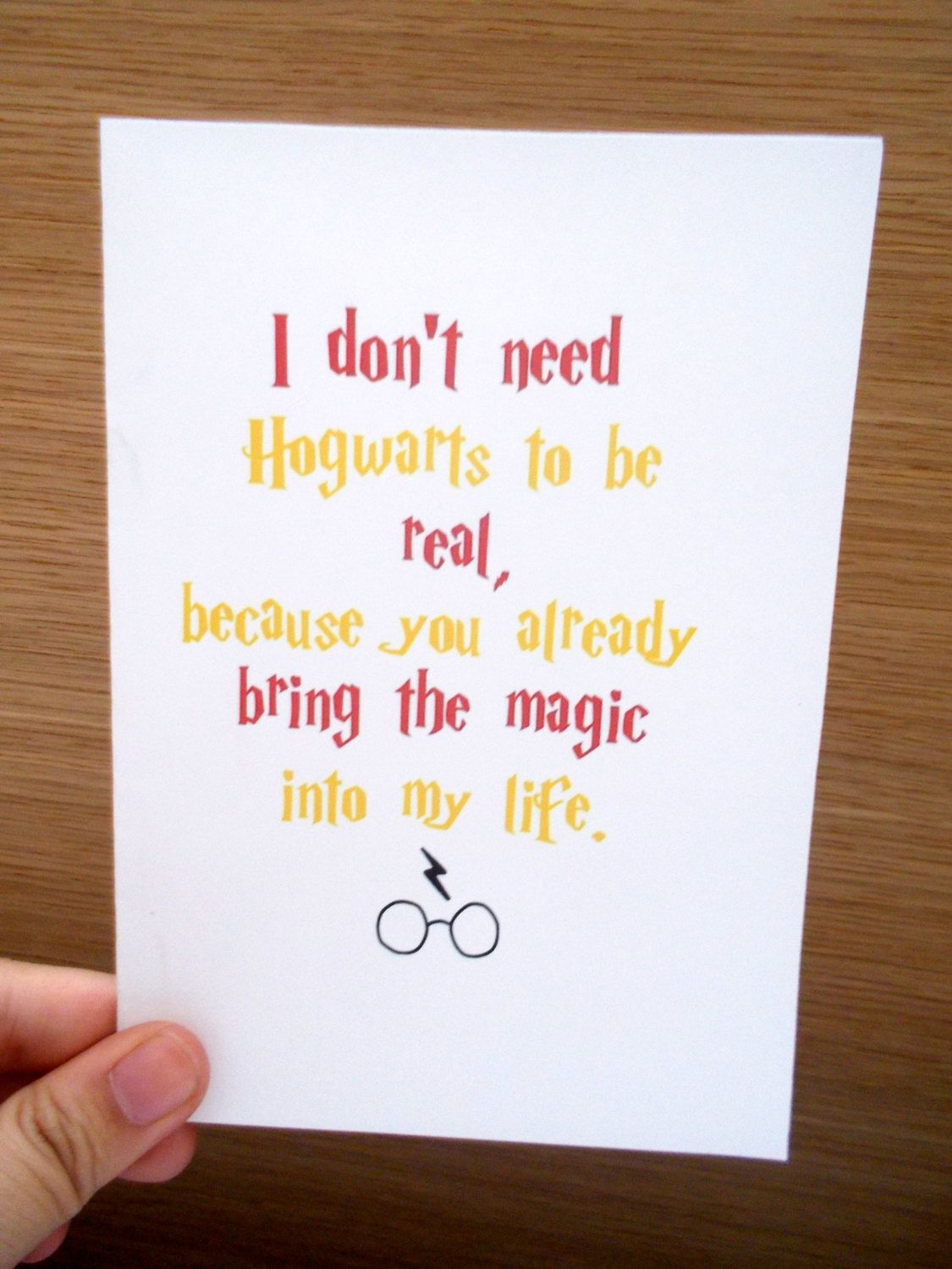 Harry Potter Quote About Friendship Harrypottergreetingcardmagicbirthdaybythemessengerbear$