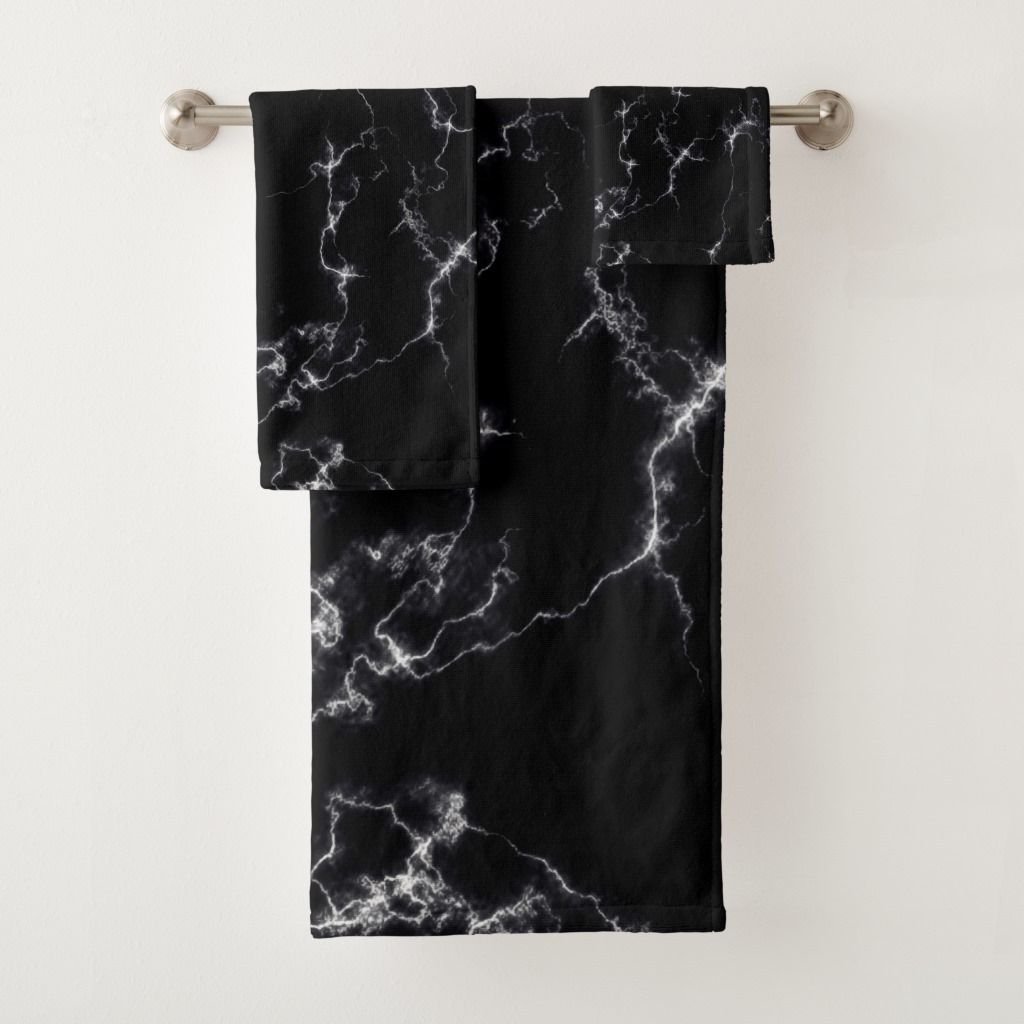 Elegant Marble Style4 Black And White Bath Towel Set In 2020
