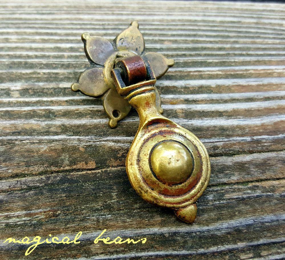 Antique daisy pendant brass pull by kbc authentic restoration antique daisy pendant brass pull by kbc authentic restoration vintage hardware rosette tear drop aloadofball Gallery