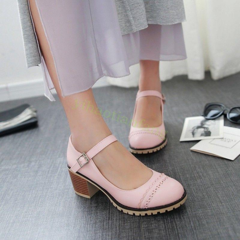 Fashion Ladies Carved RounD Toe Bowties Blocks heels Pumps Princess Shoes Size #
