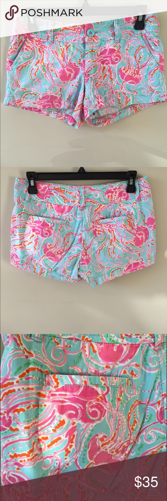 "Lilly Pulitzer 3"" Walsh short 100% cotton. Durable and comfortable short with jellyfish underwater pattern. Great condition Lilly Pulitzer Shorts"