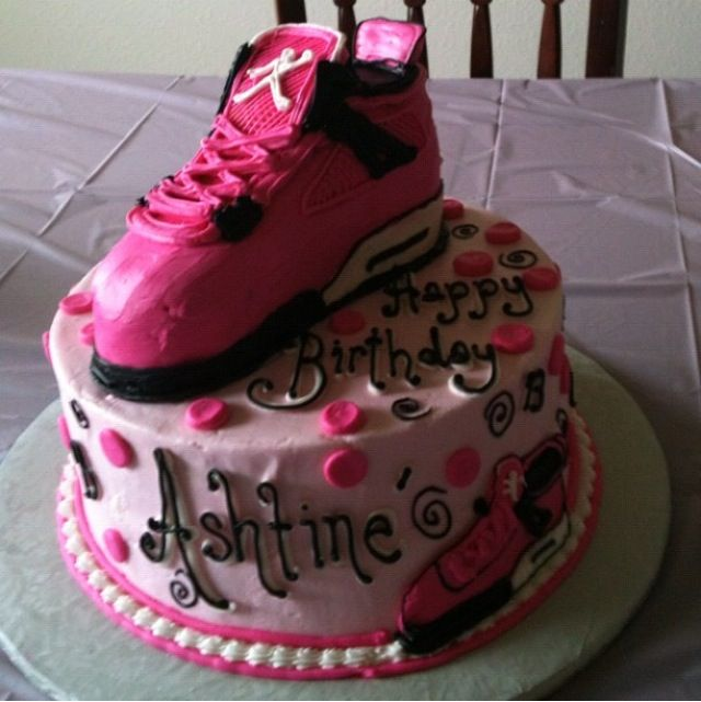 Happy Birthday Cake With Girl Basketball Sneakers