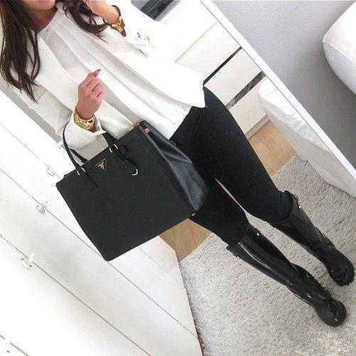 Rainy Day Work Outfit   White Blazer; White Blouse; Black Pants; Black Rain Boots; Black Structured Handbag