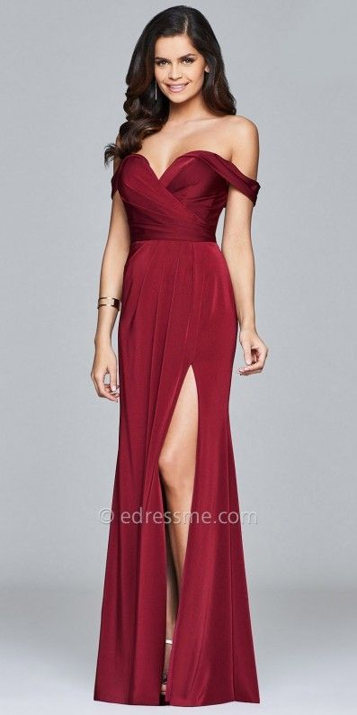 Faviana Off the Shoulder Faille Satin Pleated Evening Dress ...