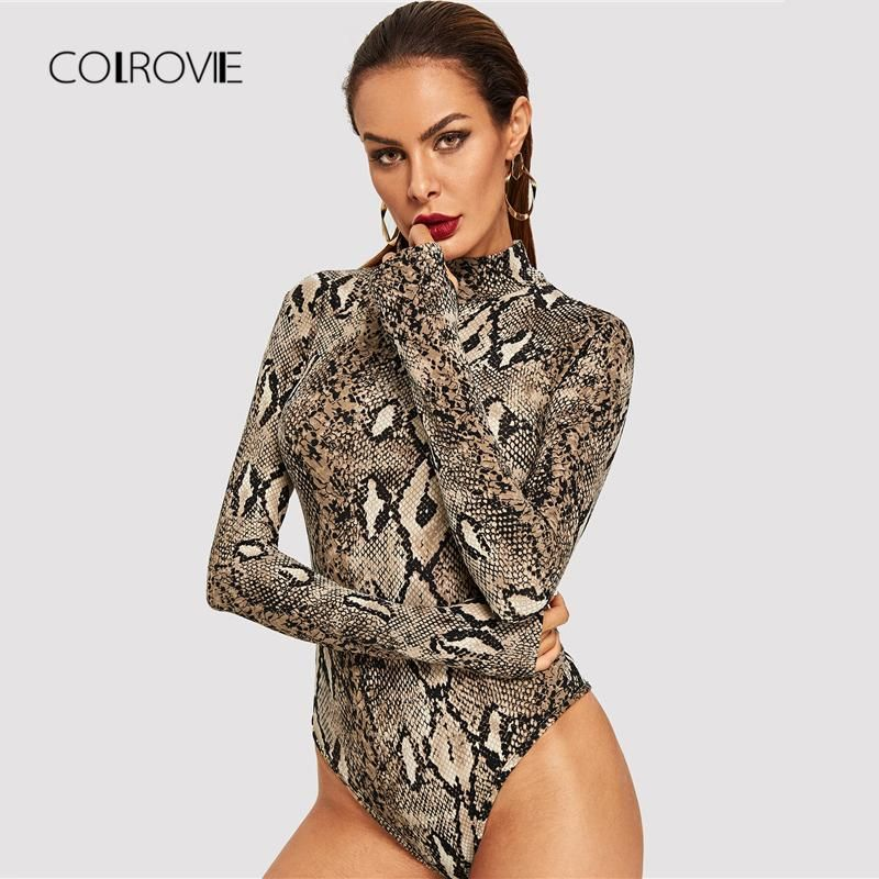 COLROVIE Snake Print High Neck Casual Bodysuit Women 2018 Autumn Long  Sleeve Office Ladies Bodysuit Fashion Vintage Bodysuit a648c108a