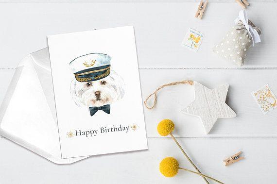 Watercolor Happy Birthday Card Hipster Dog Printable Art Nursery