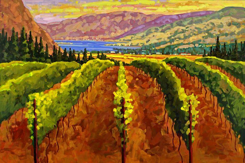 Artist Ken Gillespie Impressionist Paintings Vineyards Wineries Vineyard Art Landscape Paintings Painting