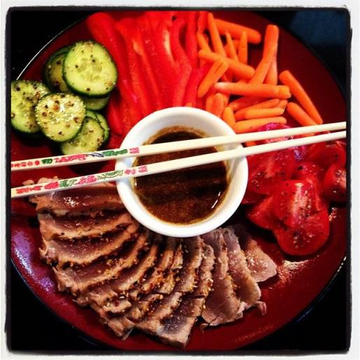 Paleo lunch. Grilled & seasoned sashimi grade tuna. Lots of veggies. #paleo #healthy #food #fitness...