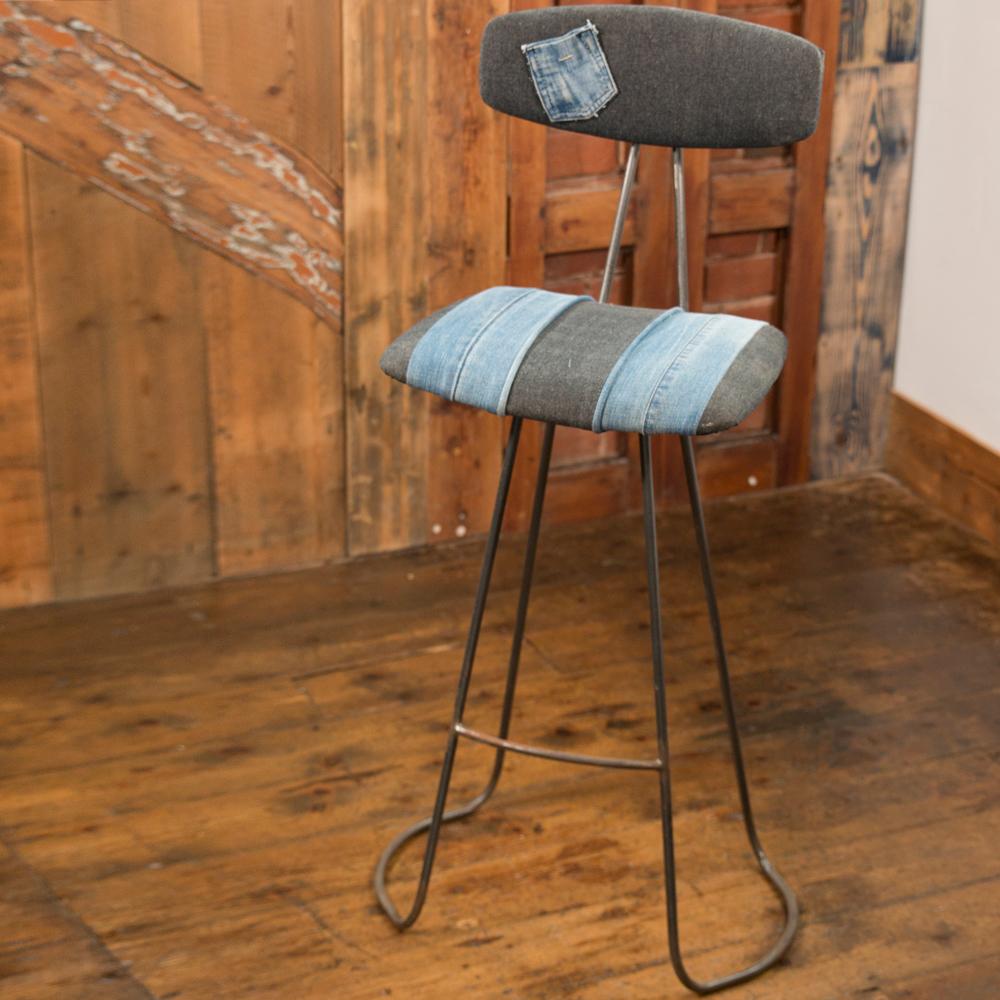 Handmade Industrial Designed Barstool With Back Rest In Denim