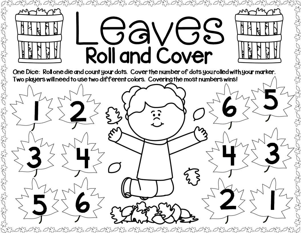 Fall Leaves Math Center Dice Games