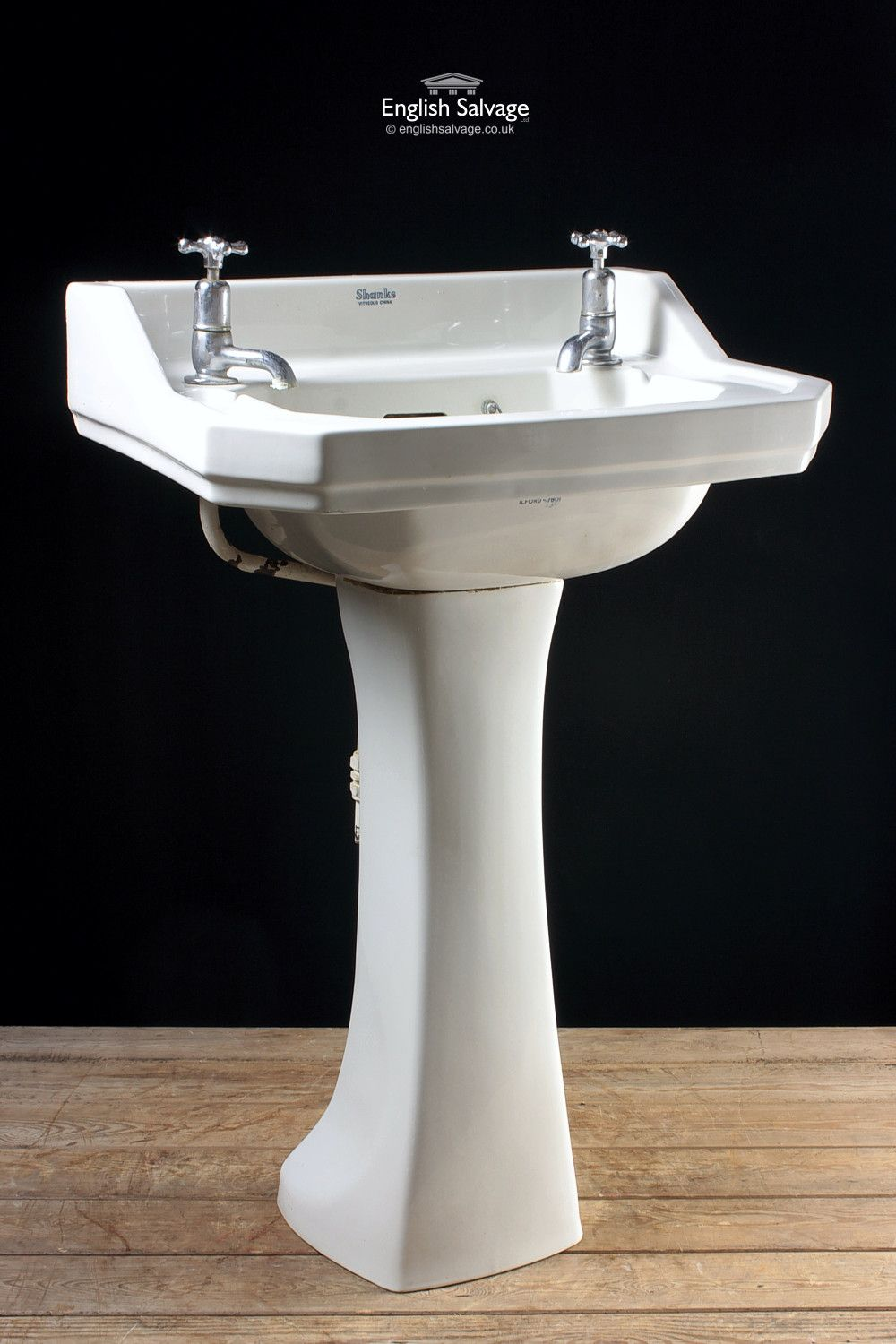 Shanks sink and stand reclaimed porcelain sinks and chrome stands - Shanks Cut Corner Sink And Pedestal