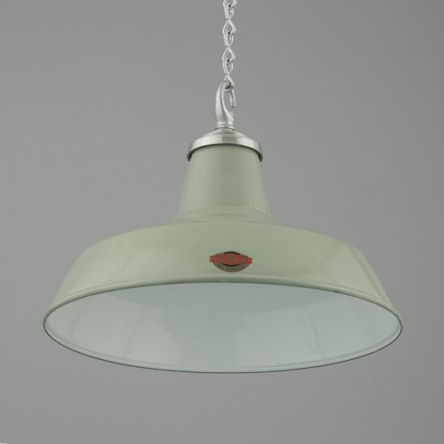 Green Grey Enamel Industrial Pendant Light Vintage LightingIndustrial