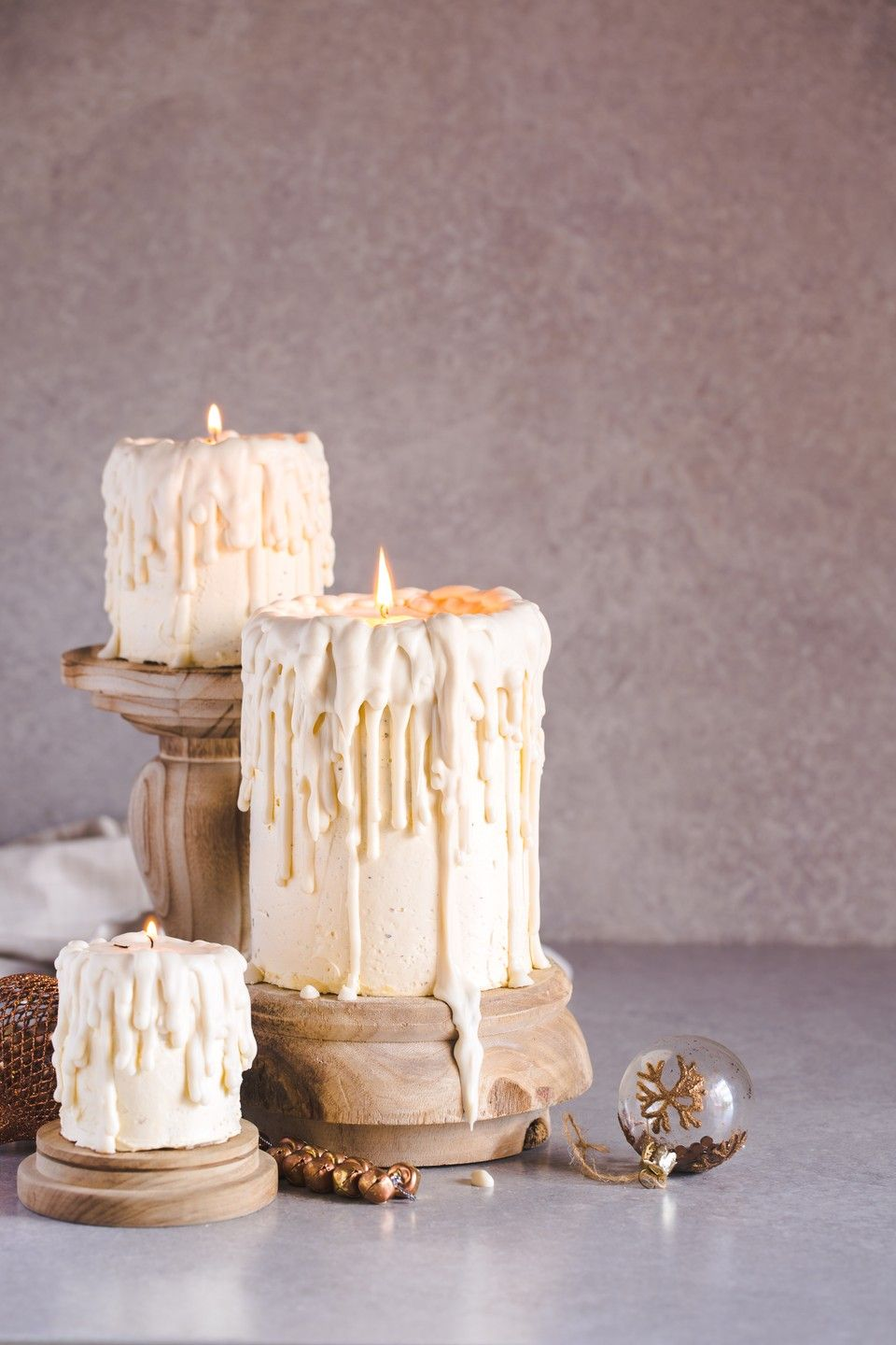 Christmas Dripping White Chocolate Candle Cakes - The Kate Tin