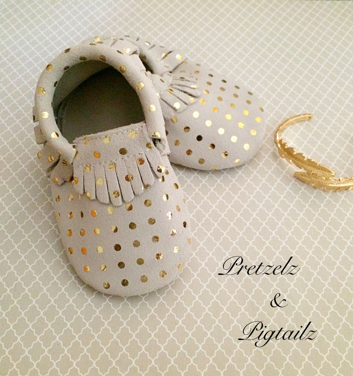 Gold MoccasinsStudded Baby Moccasins Leather Moccasins Toddler