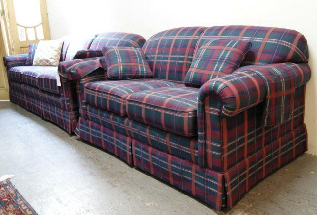 Plaid Recliners 281a Lazy Boy Country Green Plaid Sofa And Love