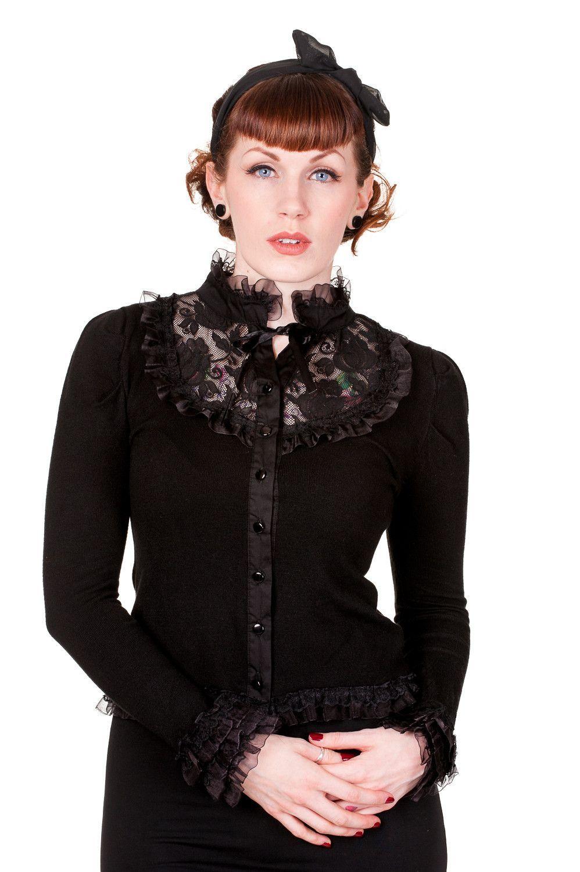 Victorian Gothic Steampunk High Choker Neck Black Rose Lace Knit Cardigan
