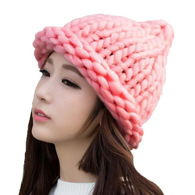 ca3b0161 2018 Solid Adult Casual Cotton Acrylic Rushed New Fashion Female Winter  Wool Hats Hand Coarse Knitted Hat For Women Beanies #hats #caps #skullies  ...