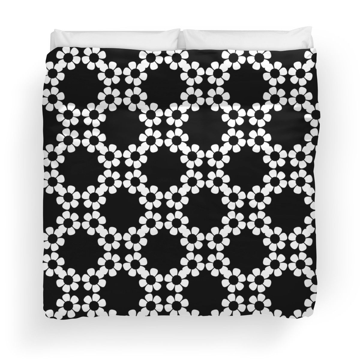 'Black and White Floral Design' Duvet Cover by