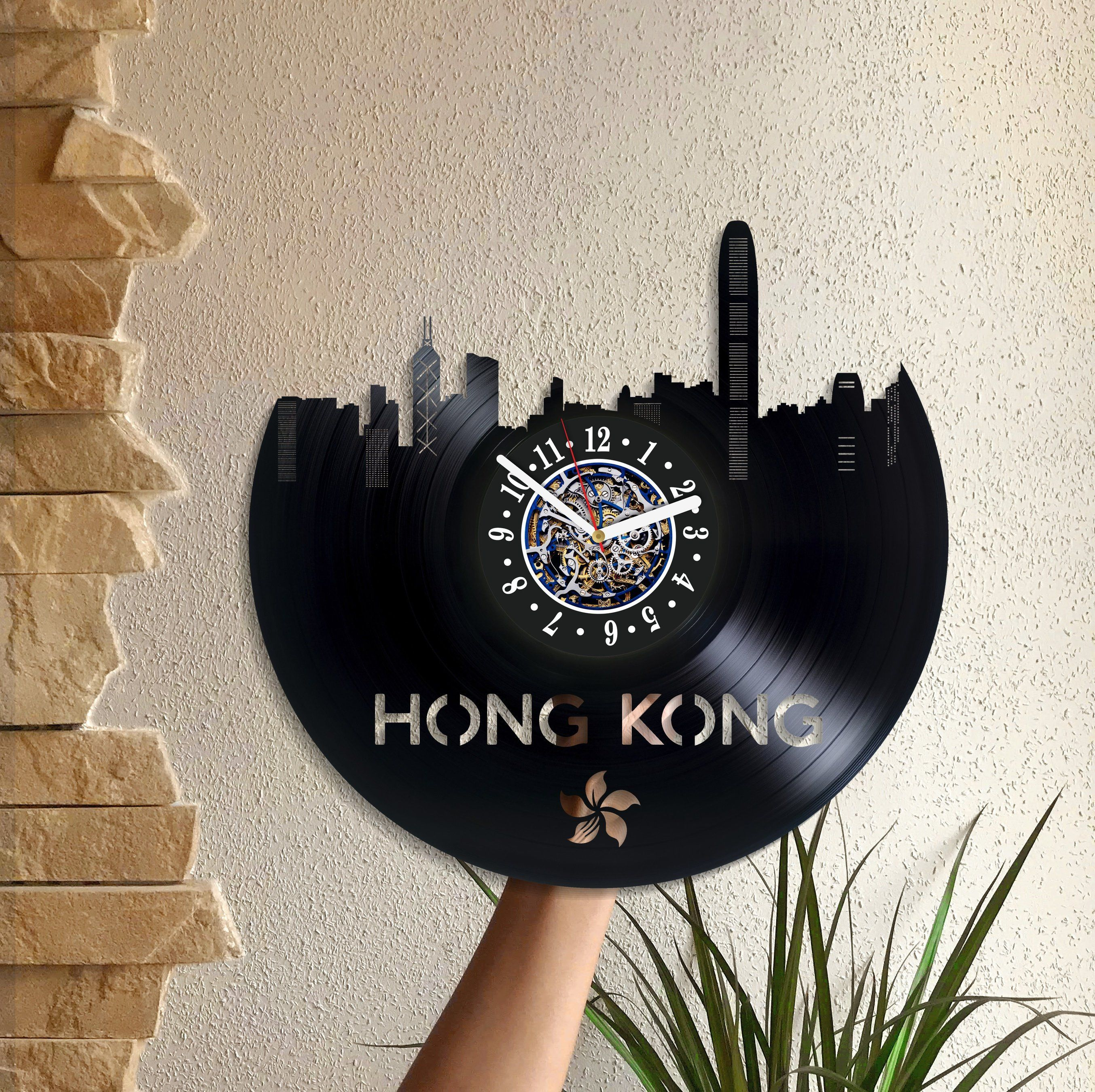 Hong Kong Room Art Lp Retro Vinyl Record China Wall Clock Large Travel Birthday Gift For Him Handmade By DecorPlaza