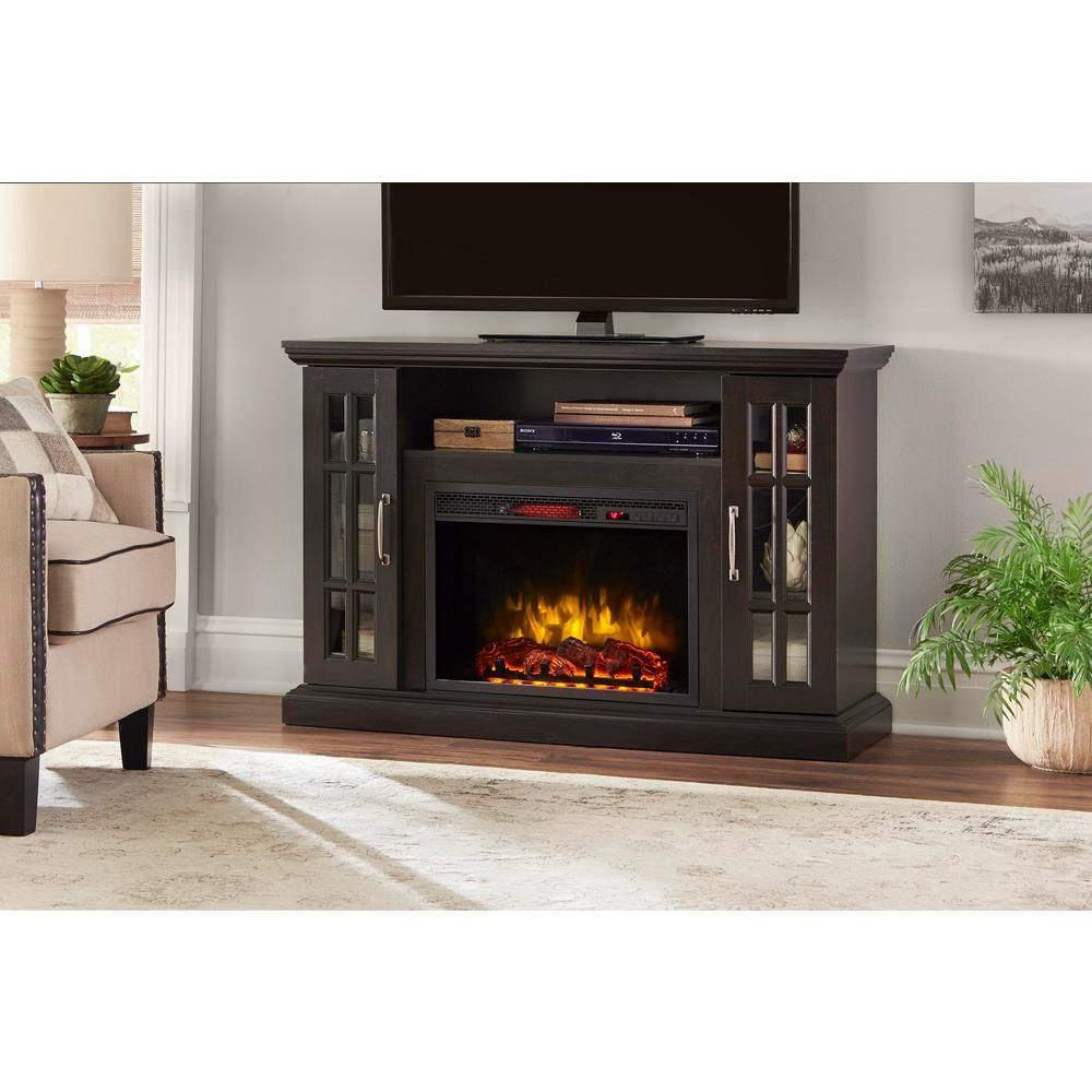 Edenfield 48 In Freestanding Infrared Electric Fireplace Tv Stand In Espresso Brown Electric Fireplace Tv Stand Fireplace Tv Stand Home Decorators Collection
