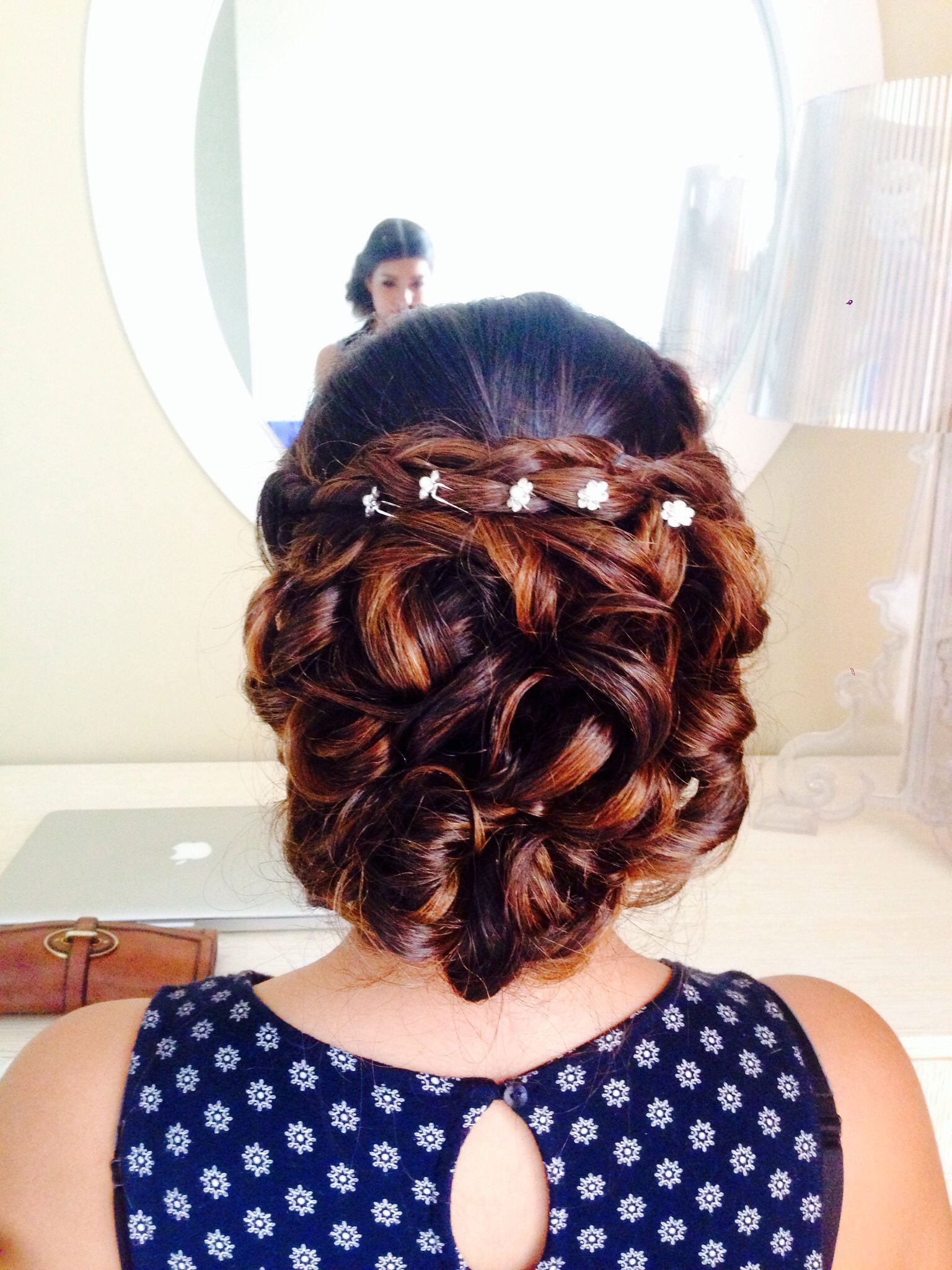 Loose messy braided updo for long hair with honey sombre ...