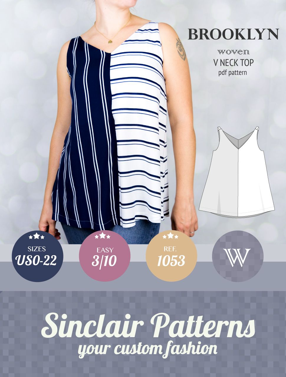 Pdf sewing pattern womens tank top pdf pattern for woven fabrics pdf sewing pattern womens tank top pdf pattern for woven fabrics one of the best sewing patterns for beginners with tutorial xs xxl jeuxipadfo Image collections