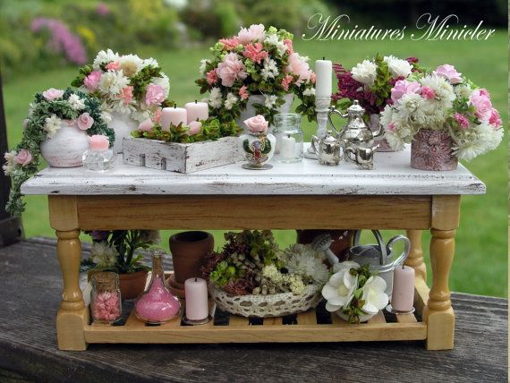 Miniature Dollhouse Gardener Workshop Shabby Chic by Minicler