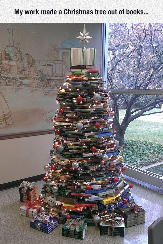 Christmas Tree For Book Lovers Christmas Tree Out Of Books Book Lovers Christmas Tree