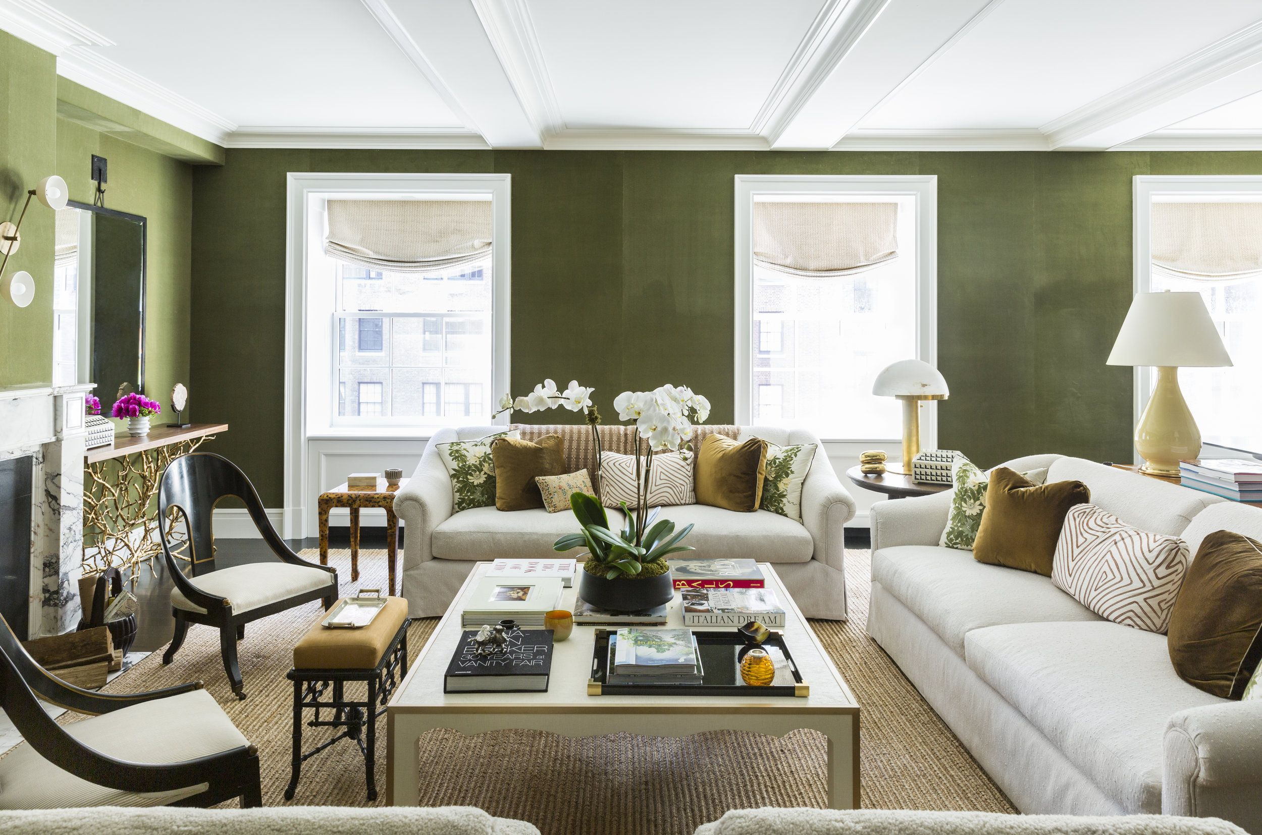 Olive Green Walls Living Room Floor Plan Anna Burke Interiors