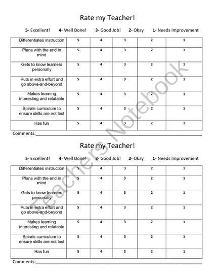 Rate My Teacher Survey From Always A Lesson On Teachersnotebook