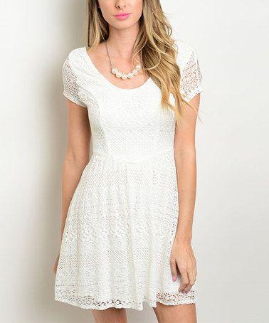 Loving this Off-White Crochet Cutout Dress on #zulily! #zulilyfinds