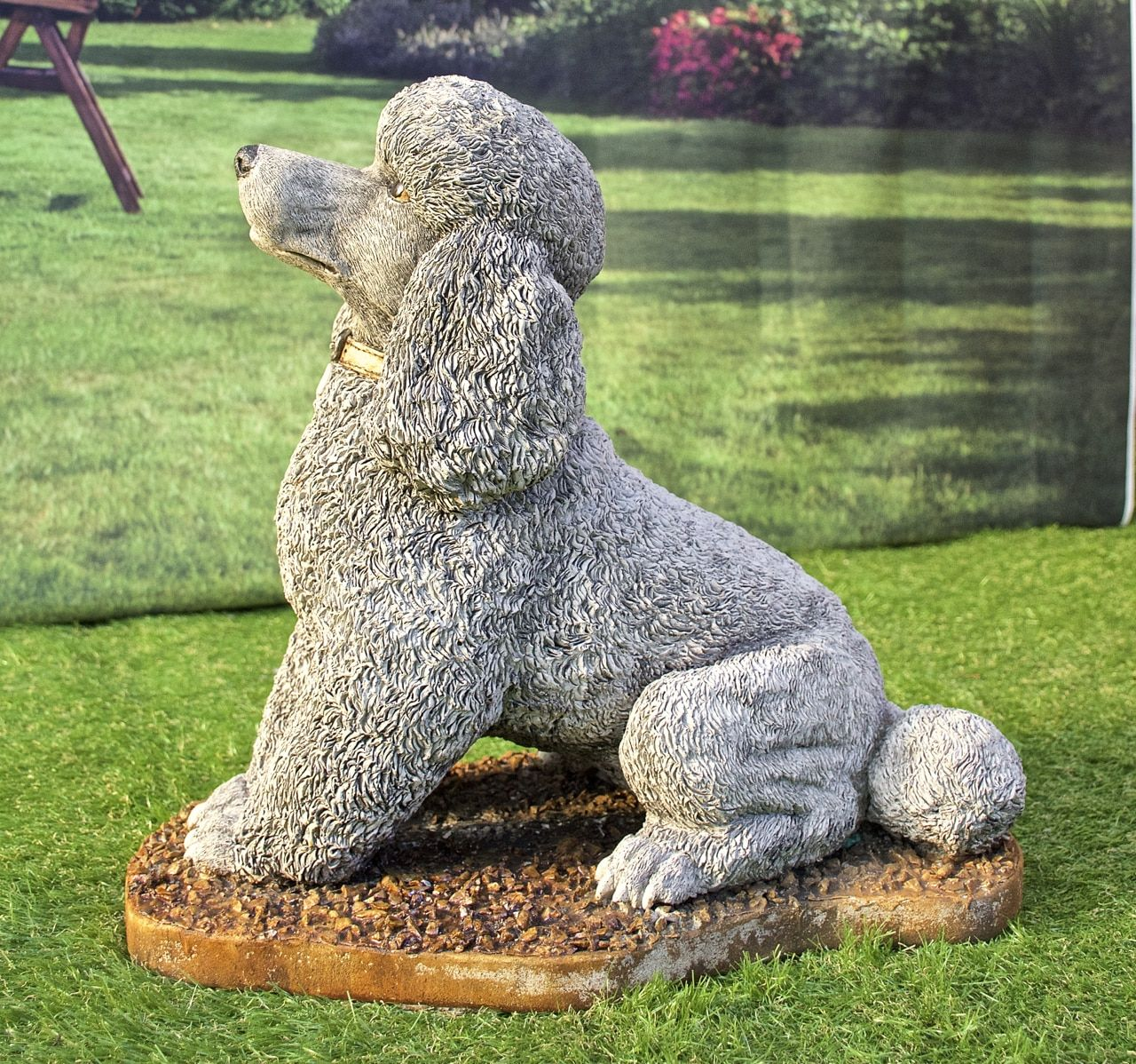 EXCLUSIVE Stone Cast Sitting Poodle Ornament Statue Hand