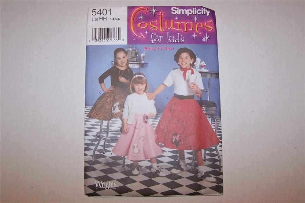 Poodle Skirt Costume For Kids Simplicity 5401 Sewing Pattern