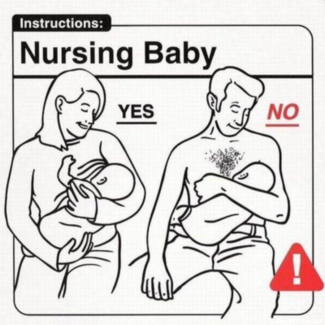 nursing baby...  The fact that some of these even have to be stated just makes this even funnier.