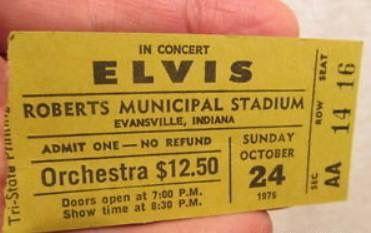 Elvis performed at the Roberts Stadium, Evansville, Indiana. October 24,  1976 | Elvis presley concerts, Concert tickets, Evansville