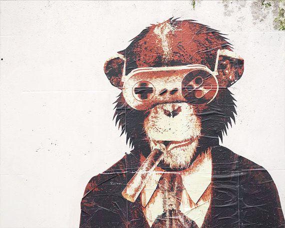 Paris Graffiti Game Monkey Paris Photography  by TheParisPrintShop, $28.00