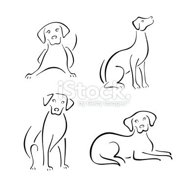 four stylized dogs on a white background furry and fun