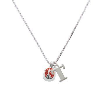 Firefighter Helmet D Initial Charm Necklace Large Block Letter