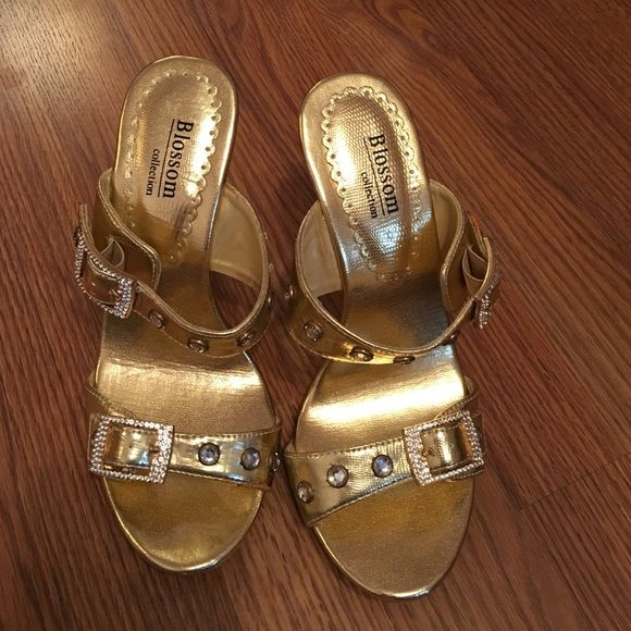 Gold open toe shoes Great shape worn once. Blossom Shoes Heels