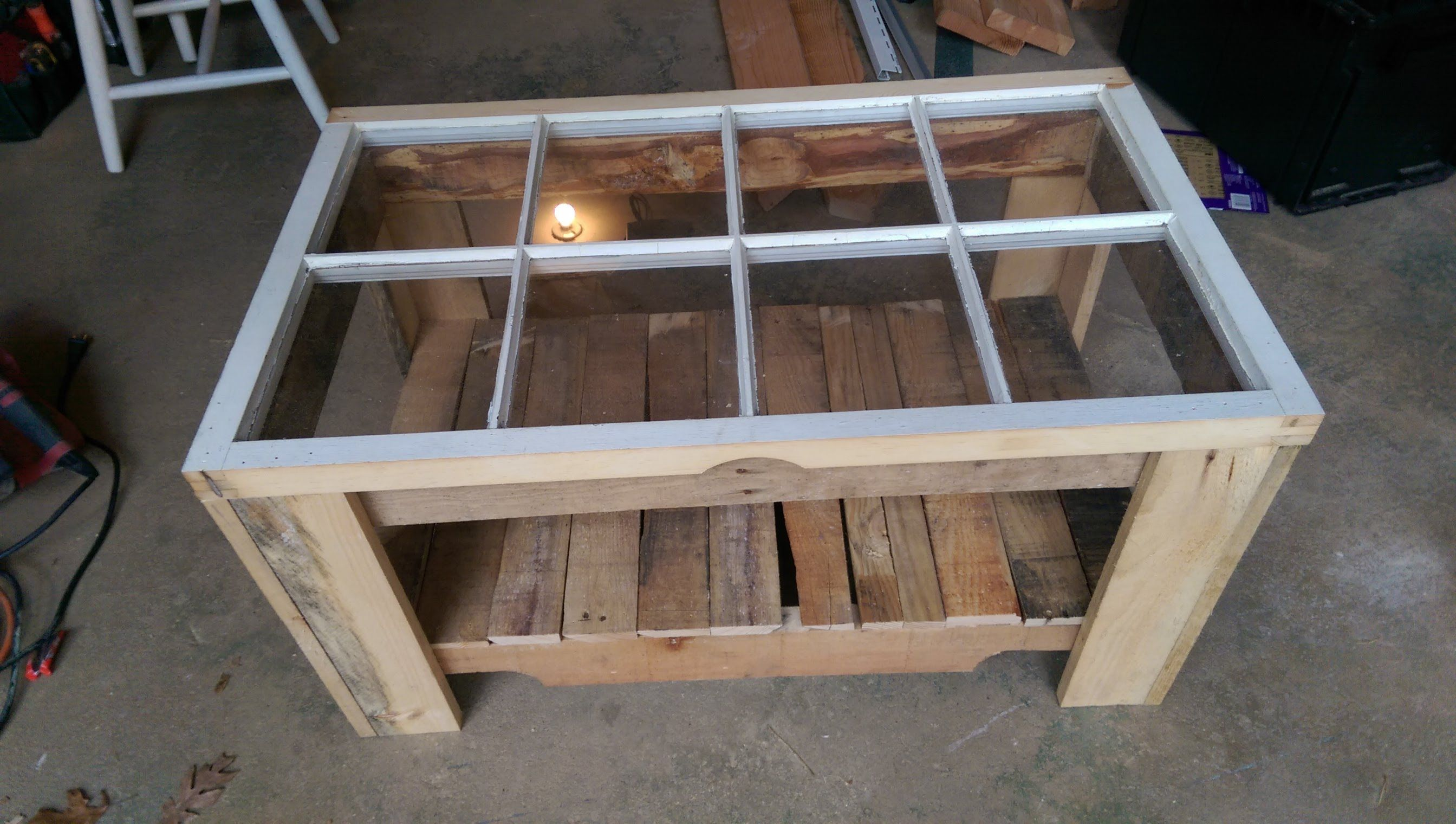Wood Pallet Old Window Coffee Table