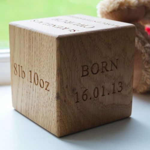 Personalised engraved solid oak block christening gift baptism personalised engraved solid oak block christening gift baptism present for newborn babies negle Gallery