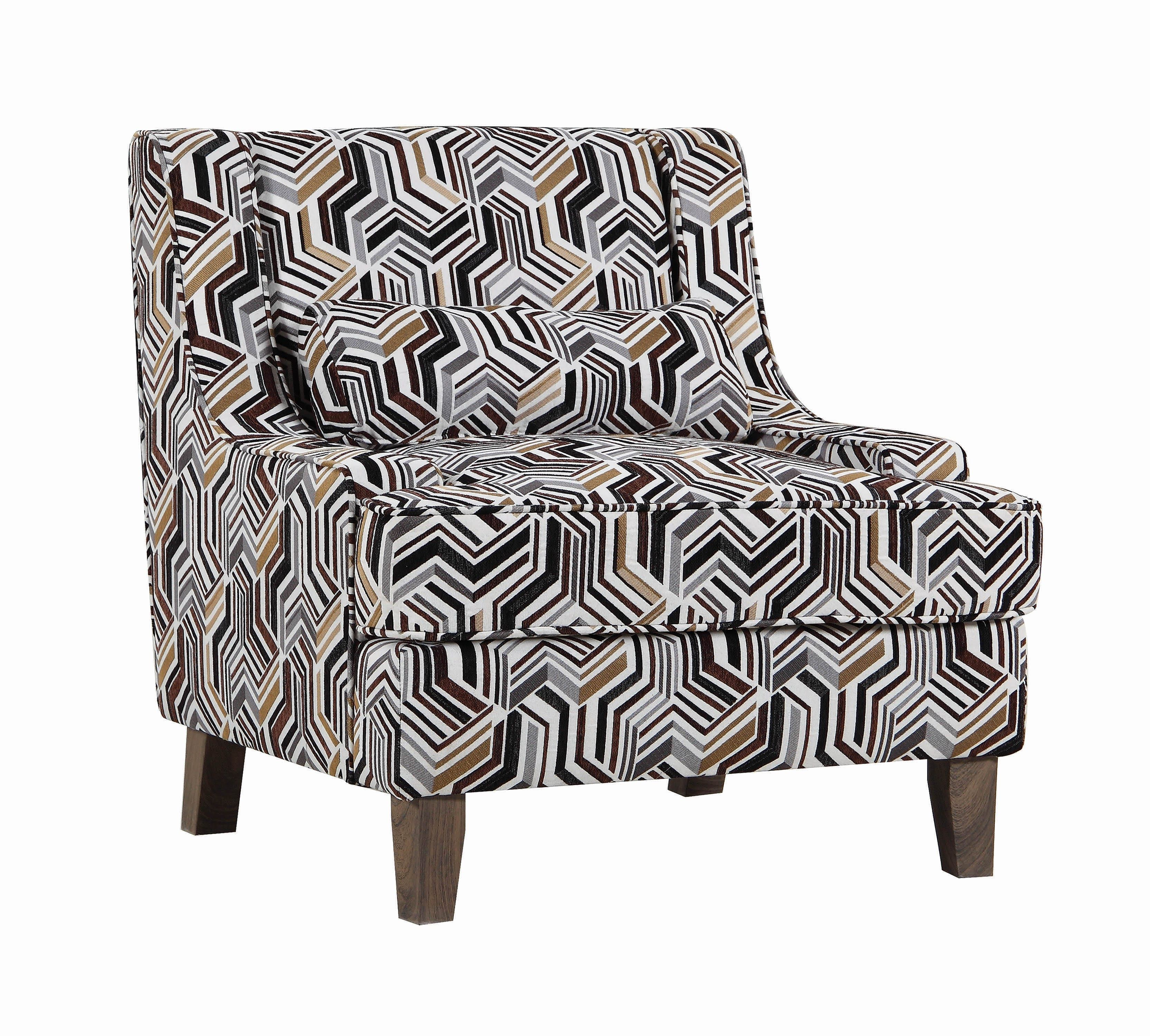Amazing Burbank Geometric Pattern Accent Chair Brown Coaster Fine Gmtry Best Dining Table And Chair Ideas Images Gmtryco