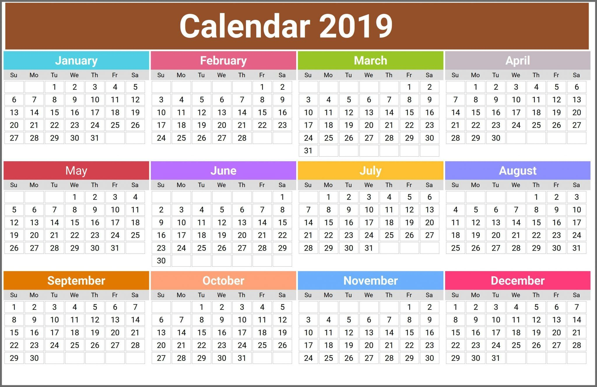 12 Month Calendar In One Page Top 10 Free 2019 Calendar Printable