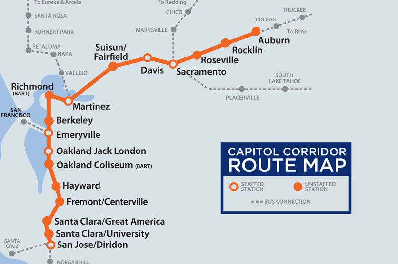 Capitol Corridor Station Map Cycling Manners Advocacy