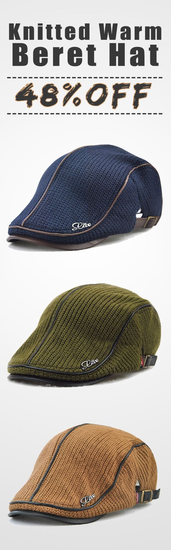 b563d04dd1b39 Unisex Knitted Warm Beret Hat Knitting Buckle Paper Boy Newsboy Cabbie  Gentleman Visor Cap