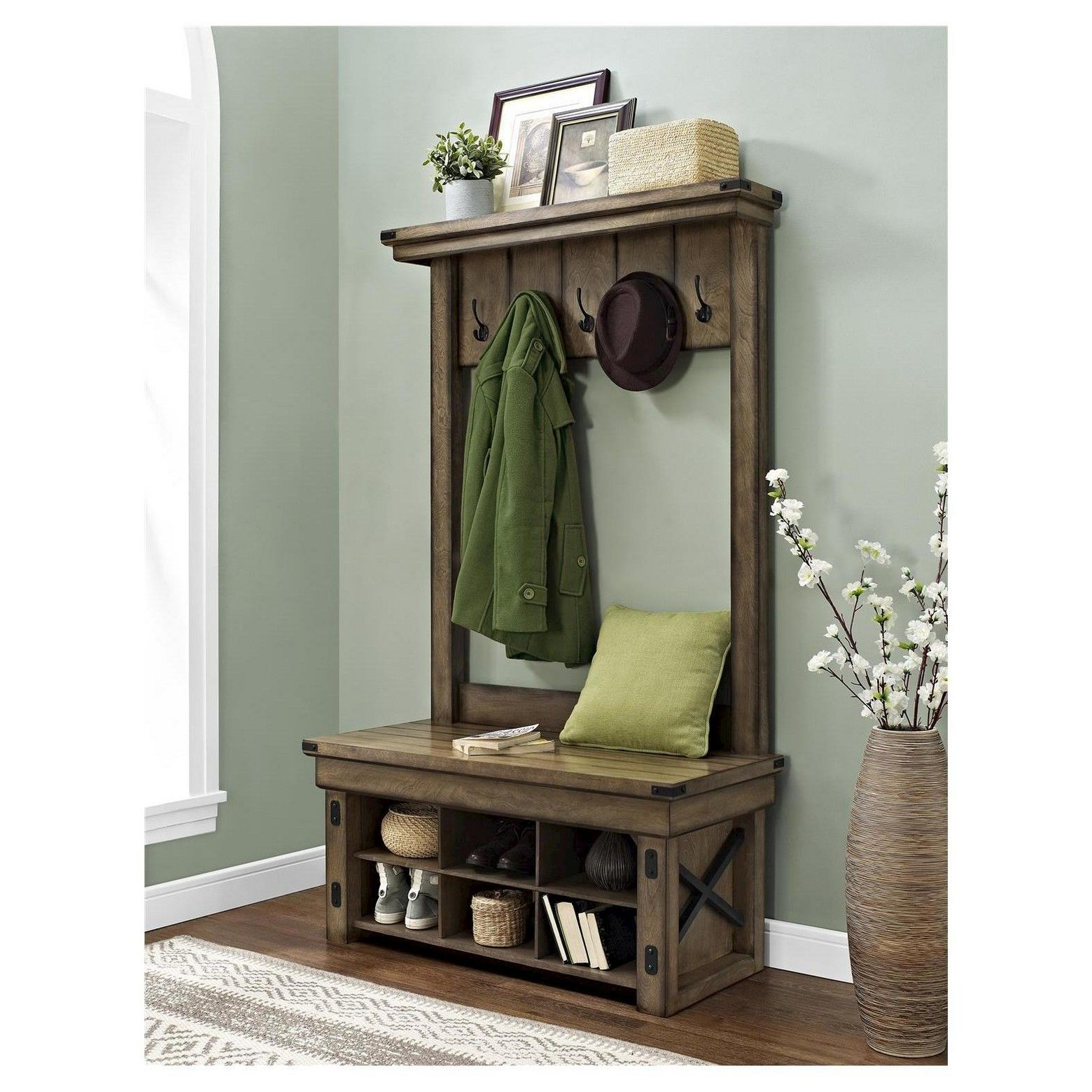 Awesome Wood Hall Tree with Storage Bench
