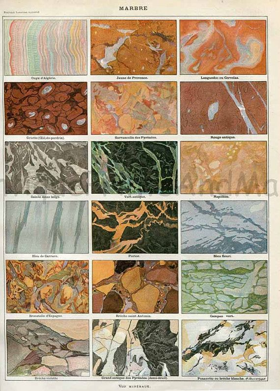 Marble Floor Types And Prices In Lahore: Types Of Marble Rock French 1898-1904 Antique Illustration